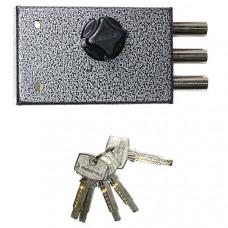 Замок накладной Аллюр 1-5В перфоключ, антик серебряный