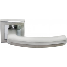 Ручка дверная Rucetti RAP 11-S SN/CP бел.никель/пол.хром (100712)